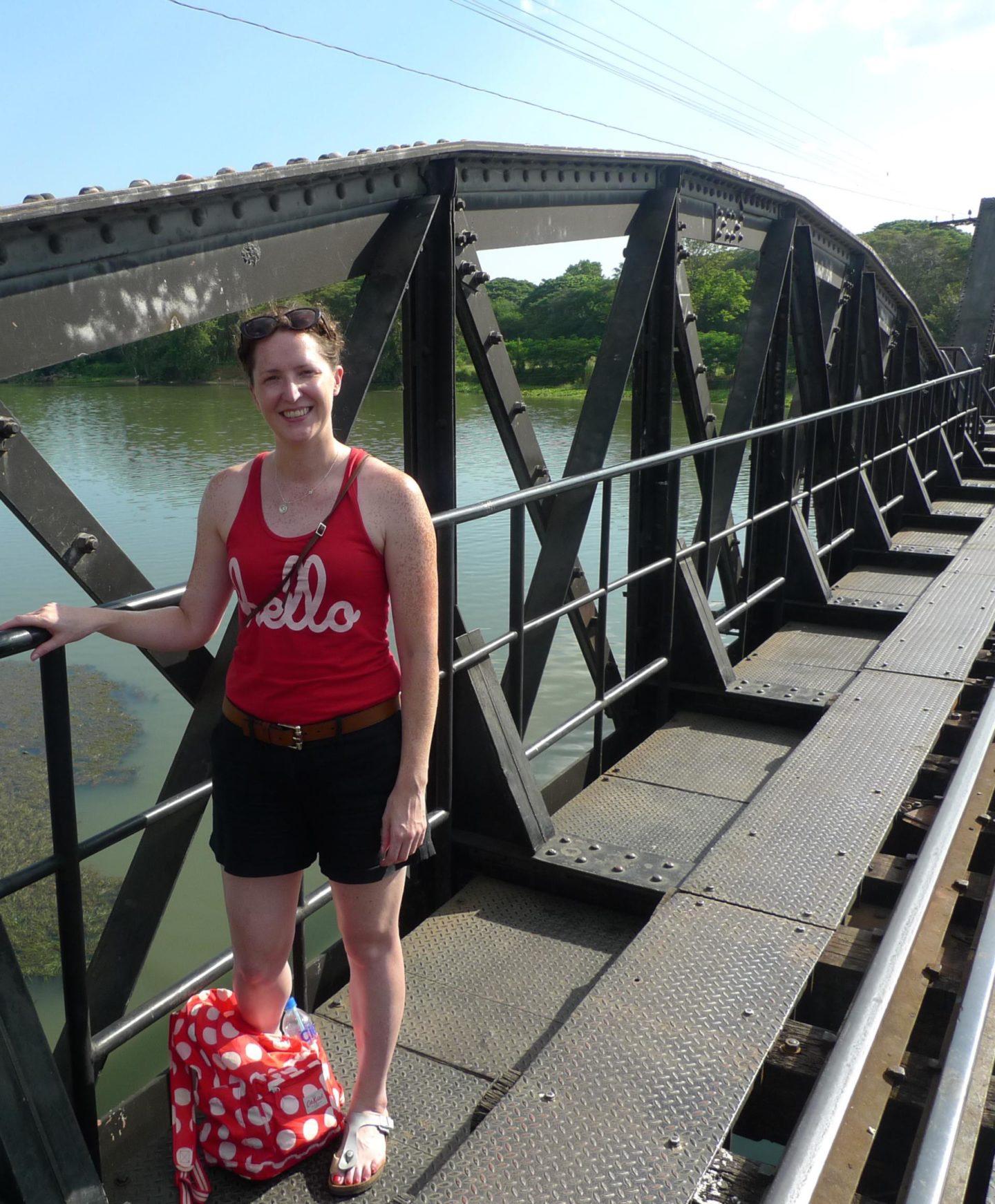 Cake Lady on the bridge over the River Kwai, Kanchaburi, Thailand. November 2015