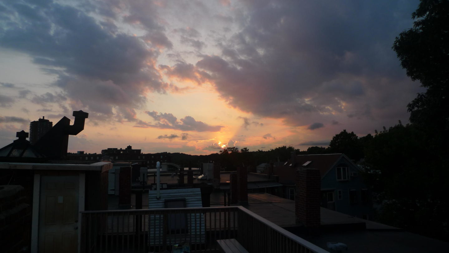 Sunset from the rooftop terrace of my beautiful Boston Condo, July 2010
